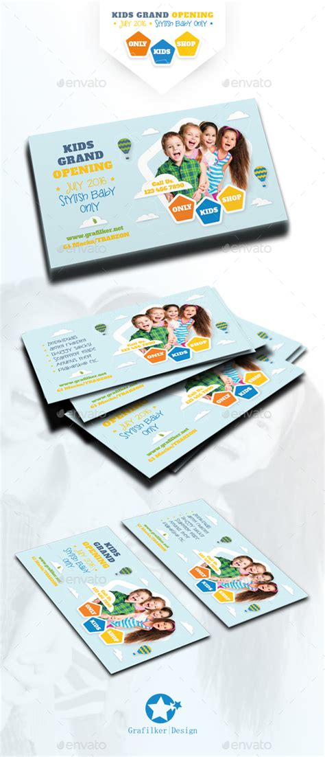 Kids Store Business Card Templates By Grafilker Graphicriver Kid Business Card Template