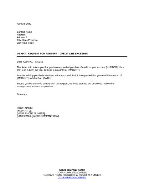 Credit Agreement Request Letter Template request for payment credit line exceeded template