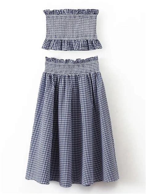 grid pattern crop top grid crop top with elastic waist skirt shein sheinside