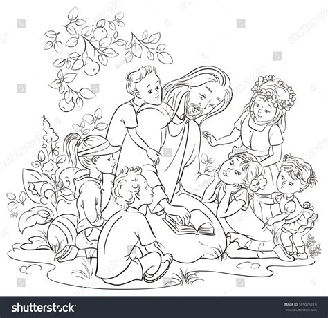 coloring page of jesus reading the bible jesus reading bible children coloring page stock vector