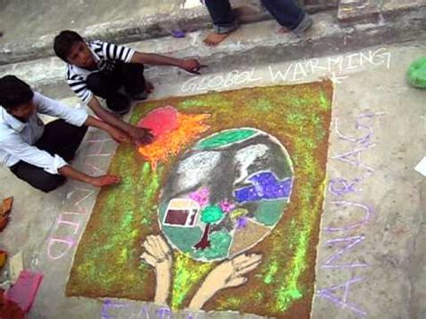 rangoli themes for global warming global warming rangoli 9 8 2010 075 avi youtube