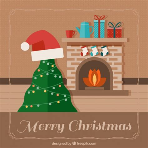 arboles de naviadad con santa clous fondo de chimenea y 225 rbol de navidad con gorro de santa claus descargar vectores gratis