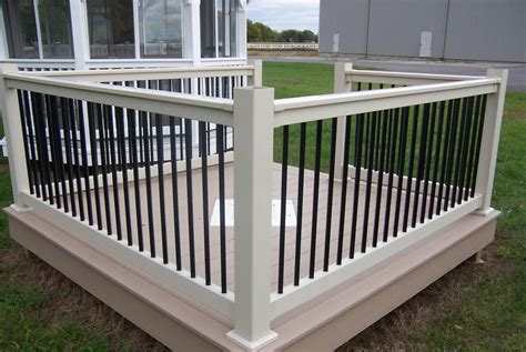 Porch Banisters by Black With White Vinyl Deck Railing See Plenty Deck