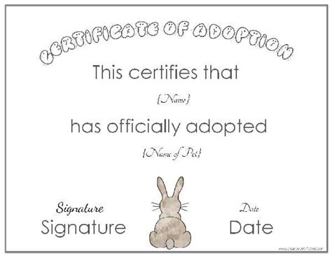 rabbit birth certificate template free adoption certificate template customize