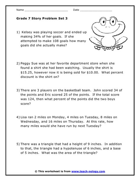 Grade 7 Math Worksheets by Grade 7 Word Problems Set 3