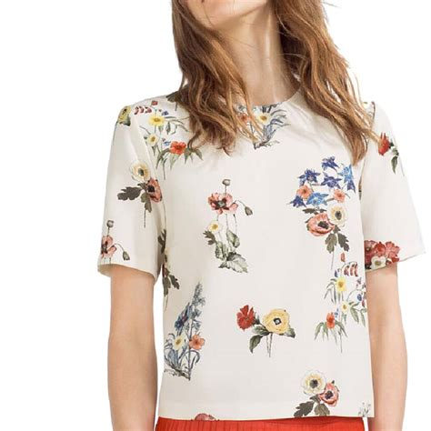 42678 Sweet Print Casual Top sweet floral print shirts o neck sleeve blouse european style summer