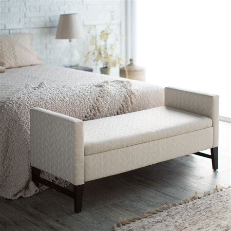 belham living camille upholstered backless storage bench neutral chevron bedroom benches