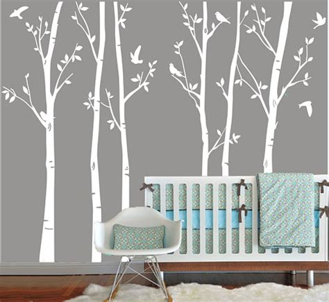 Baby Nursery Wall Decals Tree Vinyl Wall Decals White Tree Decal Nursery Six Birth Trees Birds Leaf Bird Trees Home House Wall