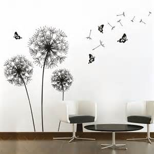 Dandelion Wall Art Stickers Yi Ju Hot Sale Diy Black Dandelion Flower Butterfly Art