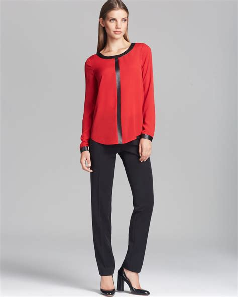 Hering Blue Leather Trim Blouse and black blouse clothing