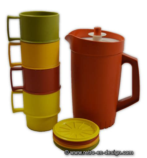 Pitcher Set Collection Tupperware vintage tupperware set with pitcher four cups and