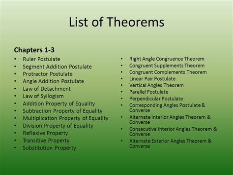 list of chapters properties and theorems ppt
