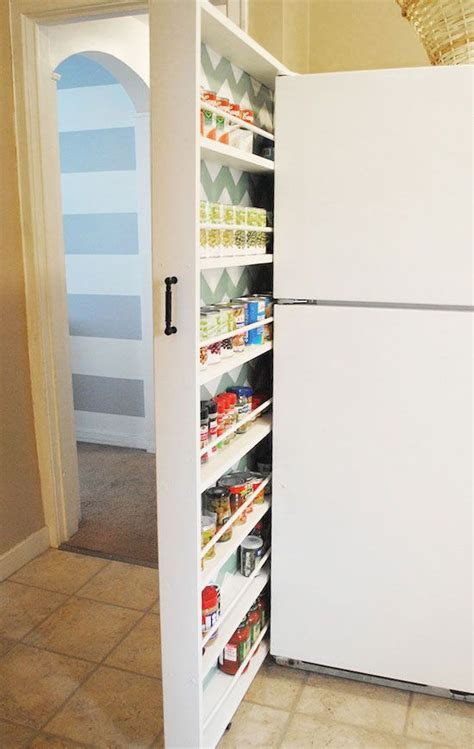 Diy Small Apartment Ideas Slider Storage Next To Fridge Click Pic For 25 Diy Small Apartment Decorating Ideas On A