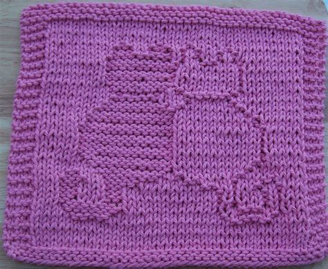 free knit dishcloth patterns digknitty designs snuggling cats knit dishcloth pattern