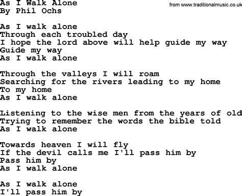 phil ochs song as i walk alone phil ochs lyrics