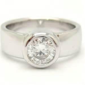 bezel set engagement ring bezel set cut engagement ring 0 70ctw knrinc jewelry on artfire