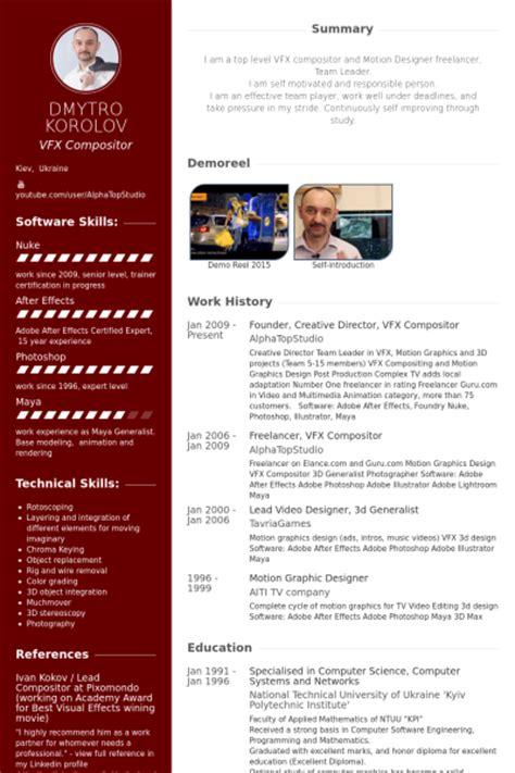 resume format freshers vfx artist creative director resume sles visualcv resume sles database
