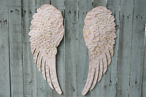 angel wings shabby chic pink gold large metal upcycled