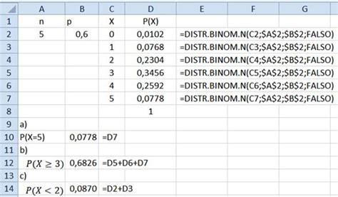 20 preguntas al azar ejercicios de la distribuci 243 n binomial resueltos con excel