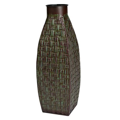Lighted Vases by Gerson 40486 15 Quot Green Metal Vase With Interwoven