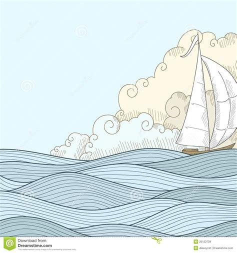 boat drawing sea retro hand draw styled sea sailor boat stock vector