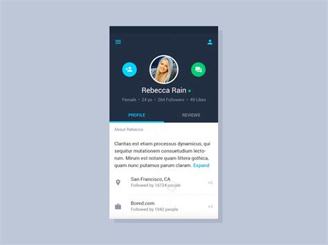 user profile layout in android user profile material by alex cristache dribbble