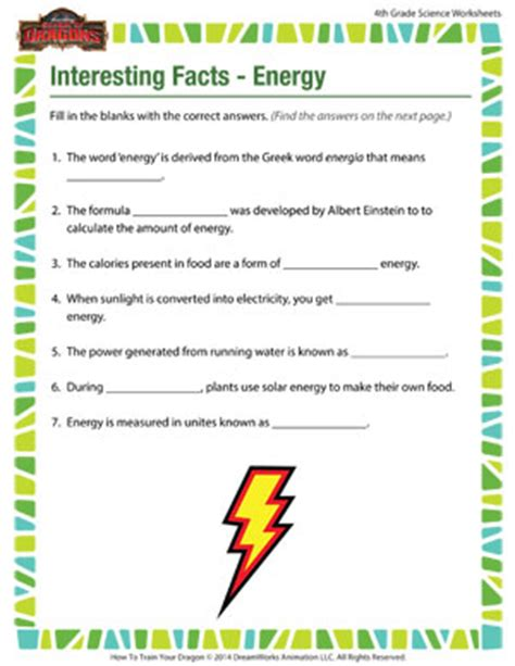 Free Fourth Grade Science Worksheets by Interesting Facts Energy 4th Grade Science Worksheets