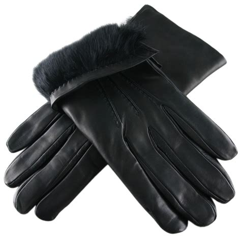 the with black gloves black co uk black leather gloves with rabbit lining in
