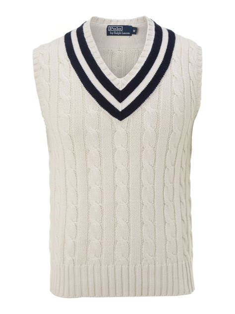 knit vest polo ralph wimbledon cable knitted tennis vest in