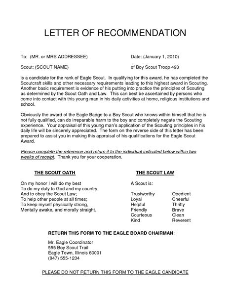 Michigan Mba Common Letter Of Recommendation by Eagle Scout Letter Of Recommendation Sle Gallery