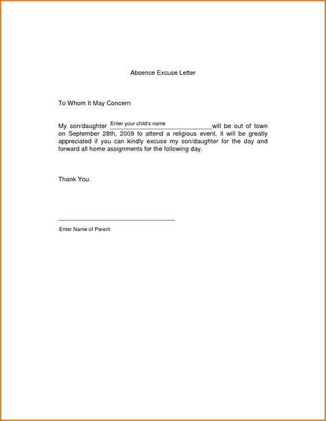Excuse Letter For Sick 6 Absent Letter For School Because Of Sick Lease Template