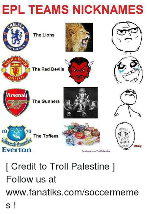 Epl Nicknames | epl teams nicknames helse the lions ball taches o the red