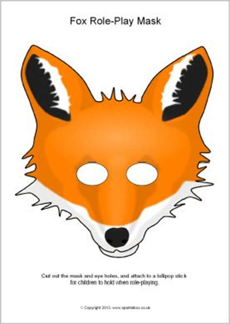 fox role play masks sb880 sparklebox printable masks