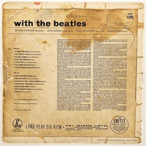 with the lot detail paul mccartney signed quot with the beatles quot album
