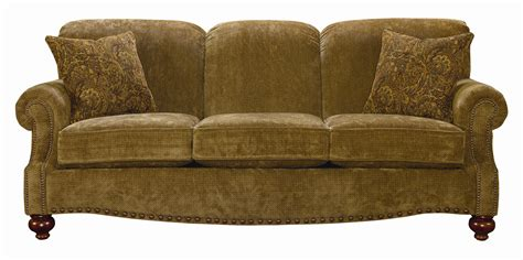 bassett club room stationary sofa with nail trim
