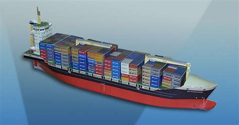 card model ship templates new paper craft simple container ship paper model free