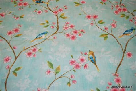 Bird Quilting Fabric by L79 Birds And Flowers Aqua Background Vintage Bird Cherry