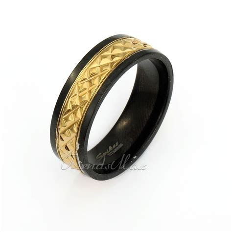 pattern gold wedding ring 8mm cut pattern band ring gold black tone stainless steel