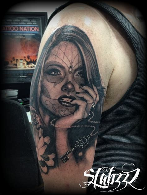 day of the dead girl tattoos day of the dead by calebslabzzzgraham on