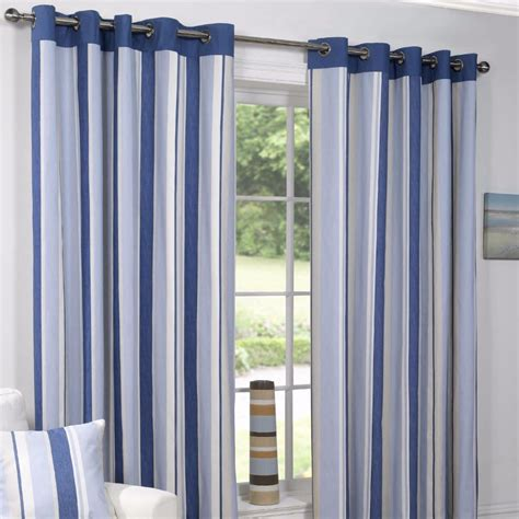 Vertical Striped Curtains Padstow Blue Vertical Stripe Ready Made Eyelet Top Fully Lined Curtains Ebay