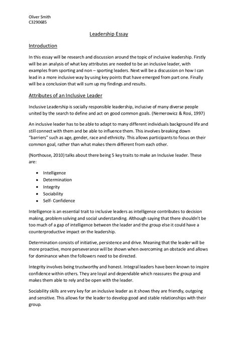 Mba Leadership Essay Sle by Leadership Essay Conclusion Assignment On Leadership