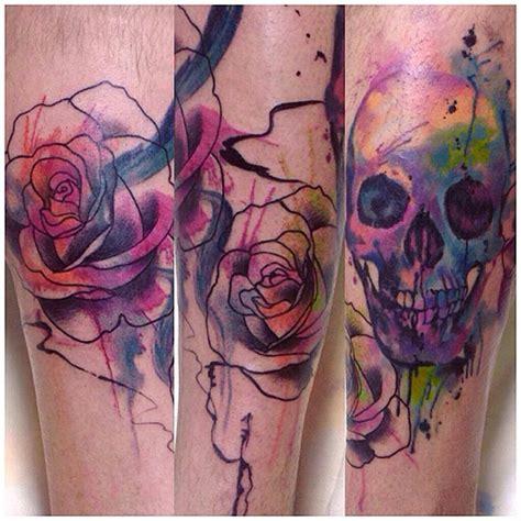 watercolor sugar skull tattoo watercolor skull tattoos by cassio magne