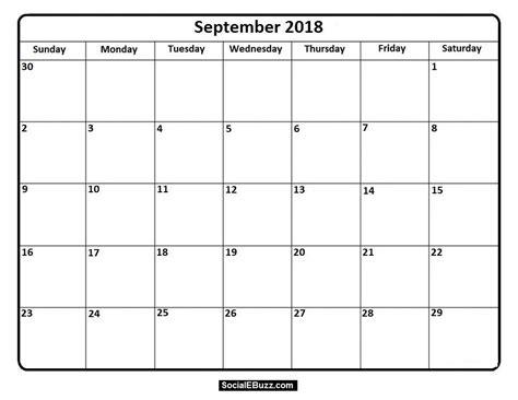 printable calendar september 2018 printable monthly calendar september 2018