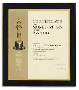 lot detail academy award nomination certificate for my