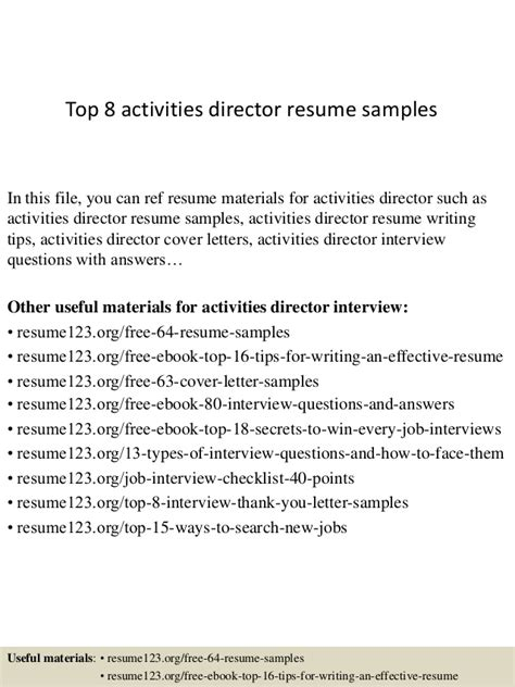 top 8 activities director resume sles