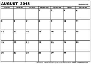 august 2018 printable calendar blank calendar templates