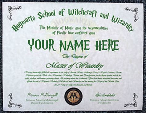 hogwarts certificate template harry potter hogwarts diploma certificate any name ideal