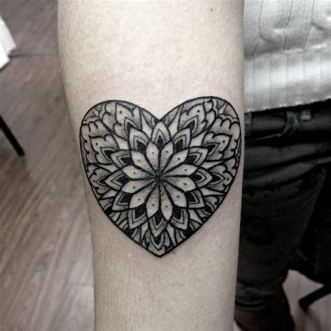 Tattoo Mandala Heart | little forearm tattoo of a heart shaped mandala by the