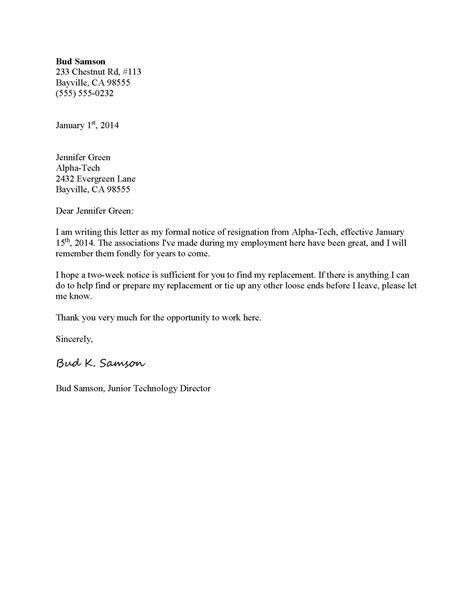 Exle Of Resignation Notice by Photo Sle Resignation Letter Sle Letter Of Resignation Images