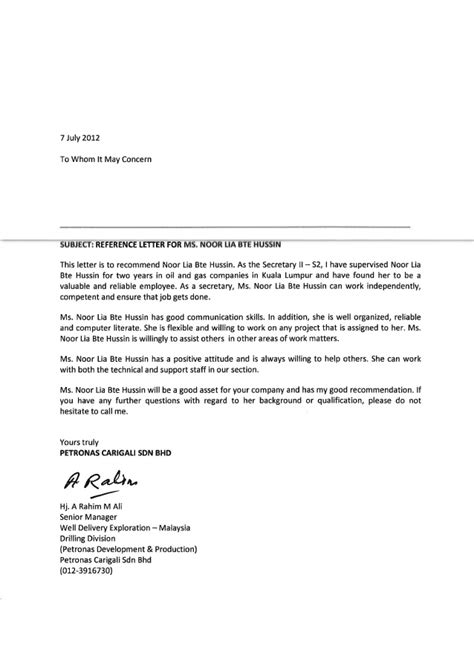 Recommendation Letter Sle General Reference Letter From General Manager Pcsb
